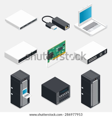 Networking isometric detailed icons set vector graphic illustration - stock vector