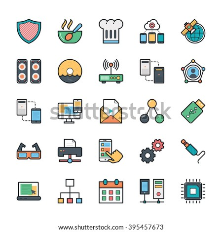 Networking, Web, User Interface and Internet Vector Icons 12 - stock vector