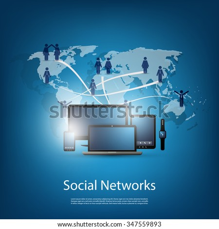 Networks, Cloud Computing, Social Media Design - stock vector