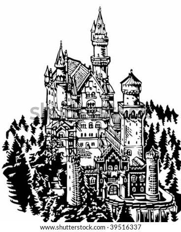 Neuschwanstein Castle illustration - stock vector