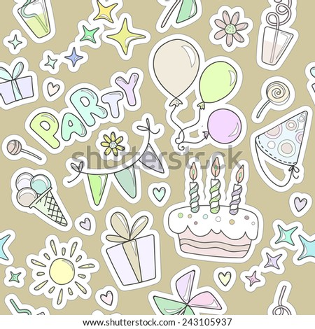 Neutral colorful cheerful cute seamless pattern on the theme of children's parties. Balloons, cake with candles, ice cream, sweets, gifts, flowers, hearts, sparkles, cups olive background. - stock vector