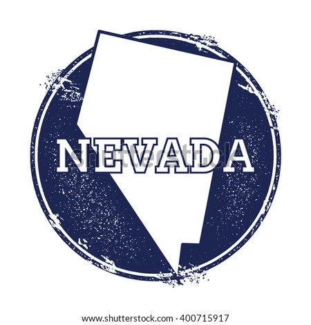 Nevada vector map. Grunge rubber stamp with the name and map of Nevada, vector illustration. Can be used as insignia, logotype, label, sticker or badge of USA state. - stock vector
