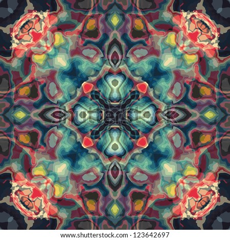 new abstract image with kaleidoscope style ornament can use like retro wallpaper - stock vector
