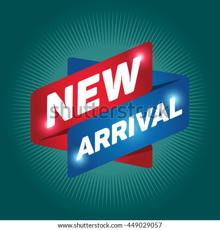 NEW ARRIVAL arrow tag sign icon. Special offer label. Green background. - stock vector
