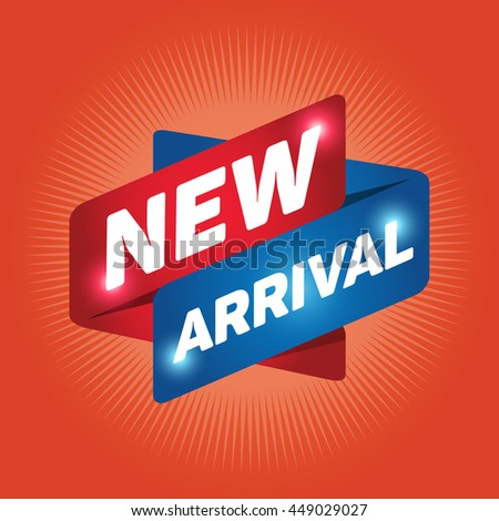 NEW ARRIVAL arrow tag sign icon. Special offer label. Orange background. - stock vector