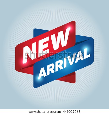 NEW ARRIVAL arrow tag sign icon. Special offer label. White background. - stock vector