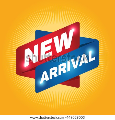 NEW ARRIVAL arrow tag sign icon. Special offer label. Yellow background. - stock vector