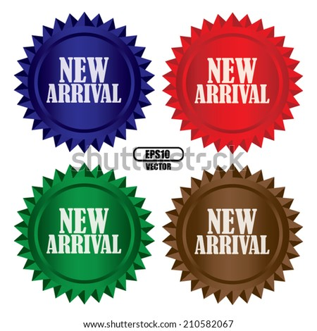 New arrival colorful shinny labels, sticker set. Vector. - stock vector
