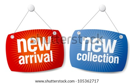 New arrival, new collection signs set. - stock vector