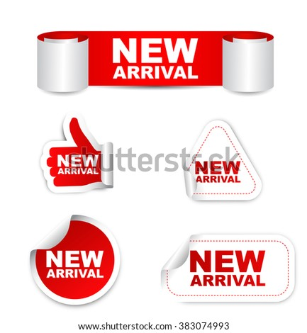 new arrival, red vector new arrival, red sticker new arrival, set stickers new arrival, element new arrival, sign new arrival, design new arrival, picture new arrival, new arrival eps10 - stock vector