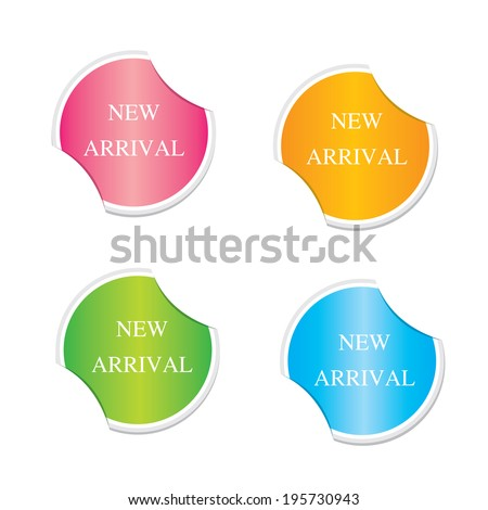 New arrival sign icon. Special offer symbol. Round stickers.  - stock vector