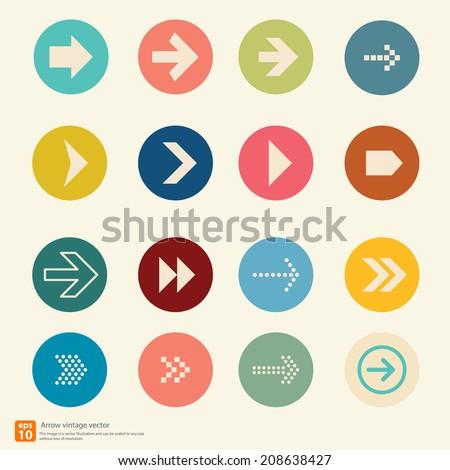 New Arrow icon vector vintage color style - stock vector