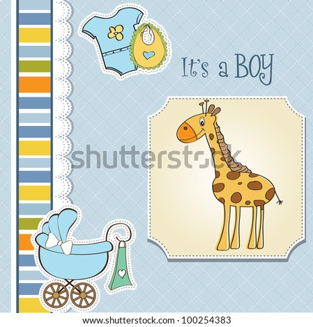 new baby boy announcement card with giraffe - stock vector