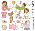 new baby girl, elements set isolated on white background - stock vector