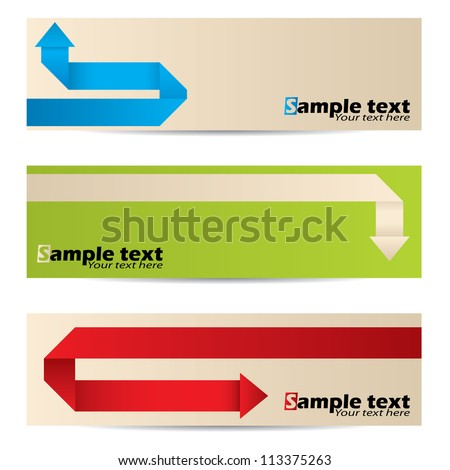 New banner set with different origami paper arrows - stock vector