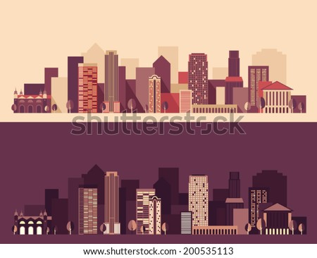 new big city, architecture megapolis, day and night, buildings,  skyscraper, skyline, vector Illustration, flat design - stock vector