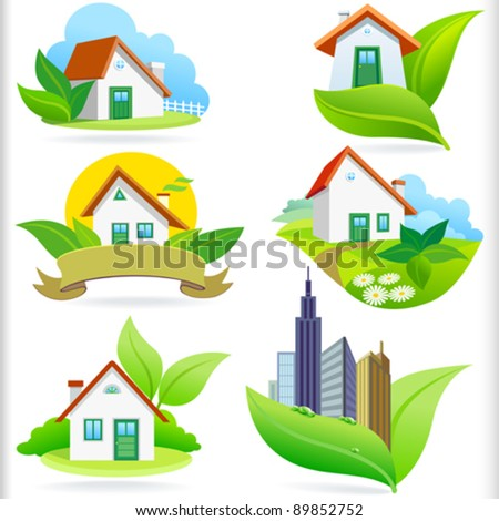 NEW- BIO GREEN HOUSE ICONs - stock vector