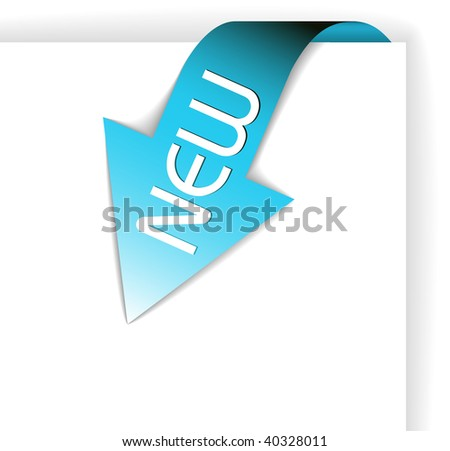 New blue corner ribbon - arrow pointing at the content - stock vector