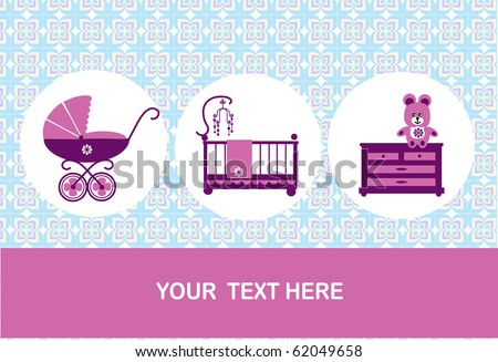 new born, baby birthday card, vector illustration - stock vector