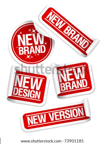 New Brand, Design, Version stickers set. - stock vector