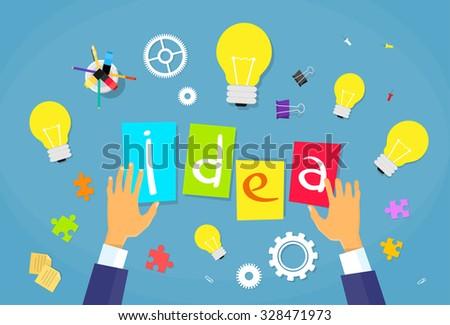 New Business Idea Concept Businessman Hands Desk Light Bulb Flat Vector Illustration - stock vector
