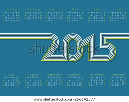 New calendar design with striped 2015 text - stock vector