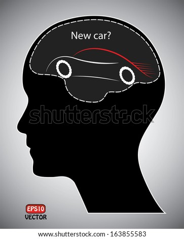New car purchase concept vector. Isolated easy to edit eps10 vector design with human head, brain and car. Objects are grouped separately.  - stock vector