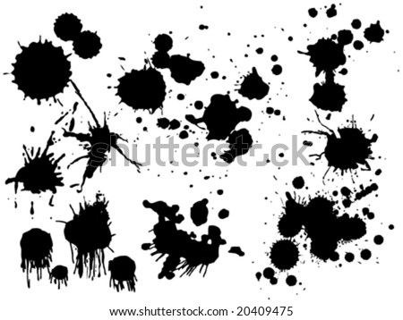 New collection of editable vector ink spills, stains and splashes - stock vector