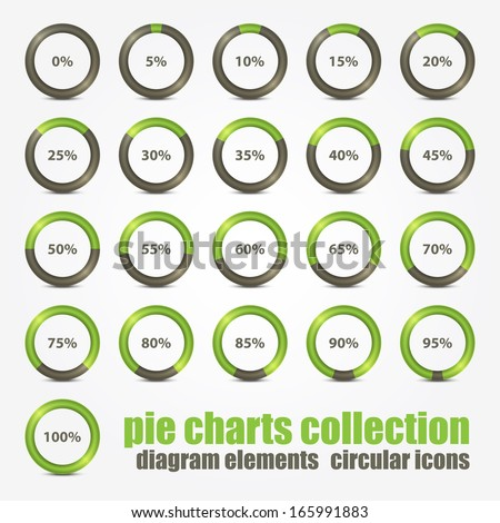 new collection of percentage diagram presentation design elements - stock vector