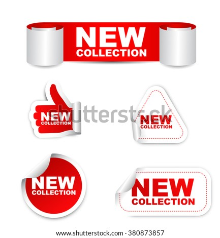 new collection, red vector new collection, red sticker new collection, set stickers new collection, element new collection, sign new collection, design new collection, picture new collection - stock vector