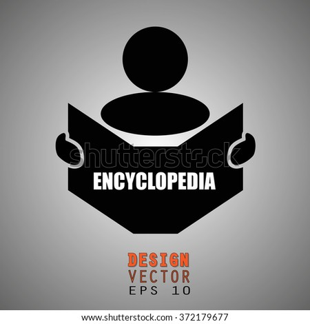 New concept of ENCYCLOPEDIA symbol : Book, Magazine, Ebook reader, student, teacher, tutor with hands symbol. Silhouette of a man holding a book with inscriptions. Vector illustration EPS 10 - stock vector