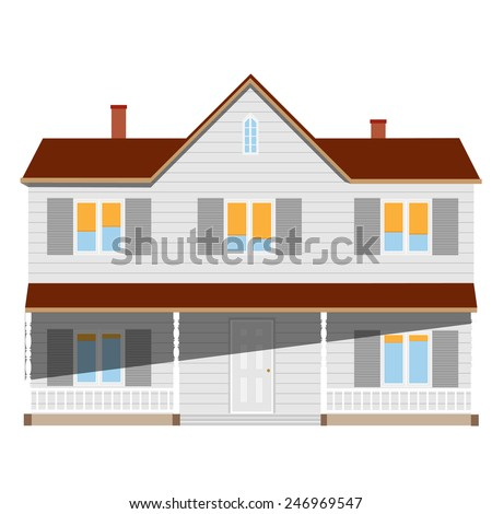 New cottage, house two story, real estate, home vector isolated, sale - stock vector