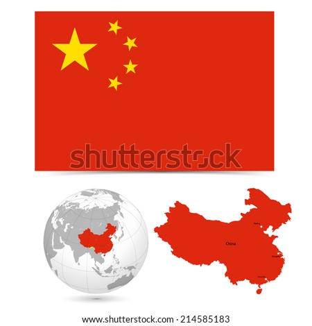 New Detailed vector  flag with Map world of china. Names, town marks and national borders are in separate layers. with globe That separates by Continent. - stock vector