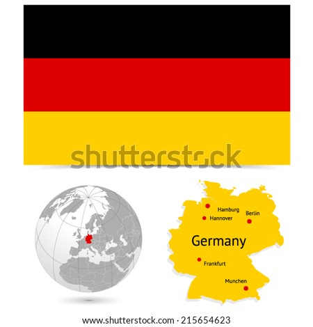 New Detailed vector  flag with Map world of Germany. Names, town marks and national borders are in separate layers. with globe That separates by Continent. - stock vector