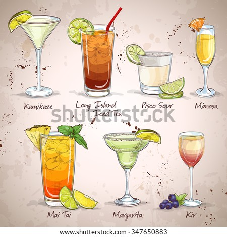 New Era Drinks Cocktail Set, excellent vector illustration, EPS 10 - stock vector