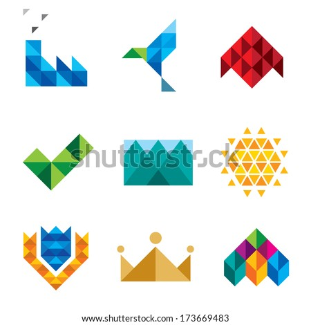 New generation computer pixel social triangle object logo set series isolated on white background icons - stock vector