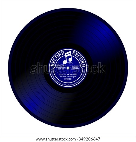 New gramophone vinyl LP record with blue label. Black musical shiny long play album disc 33 rpm. old technology, realistic retro design, vector art image illustration, isolated on white background - stock vector