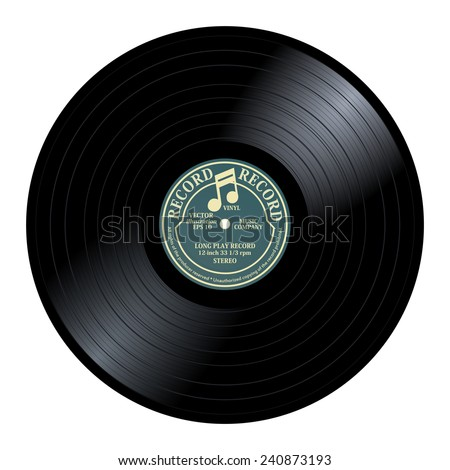 New gramophone vinyl LP record with gray / yellow label. Black musical long play album disc 33 rpm. old technology, realistic retro design, vector art image illustration, isolated on white background - stock vector