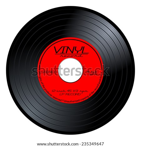 New gramophone vinyl LP record with red color label. Black musical long play album disc 45 rpm. old technology, realistic retro design, vector art image illustration isolated on white background eps10 - stock vector