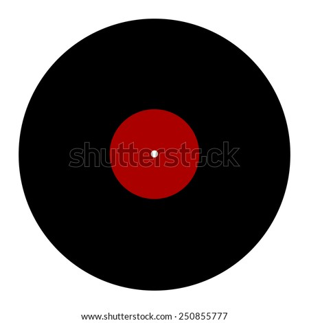 New gramophone vinyl LP record with red color label. Black musical long play - retro style symbol. old technology concept, simple design, vector art image illustration, isolated on white background - stock vector