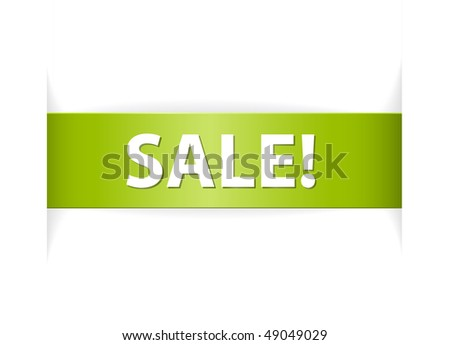New green paper ribbon sale announcement  on white paper - stock vector