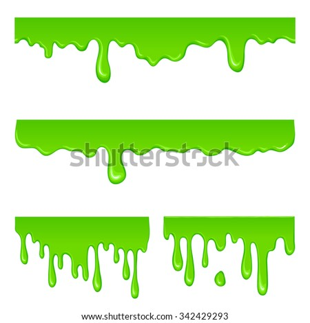 New green slime set isolated on a white - stock vector