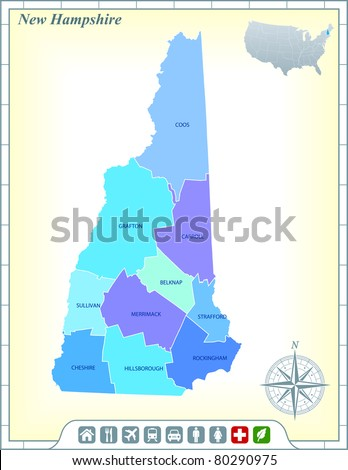 New Hampshire State Map with Community Assistance and Activates Icons Original Illustration - stock vector