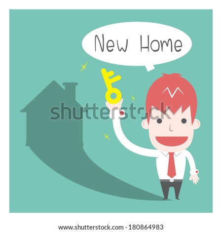 New Home ,Vector cartoon business - stock vector