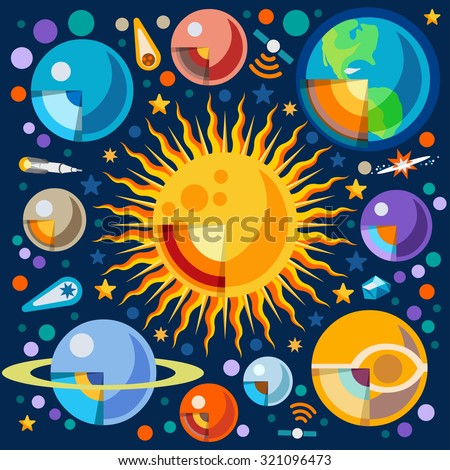 New Horizons of the Solar System Infographic. NEW bright palette 3D Flat Vector Icon Set Cutaway Planets Pluto Venus Uranus Jupiter Saturn Universe Around the Sun Concept - stock vector