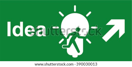 New idea concept. Sign Exit in the form of lightbulb (idea). Main idea: there is always a way - stock vector