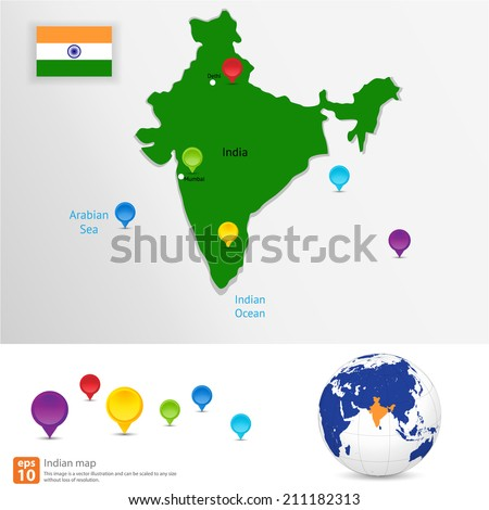New india map with  pin marker location vector format - stock vector