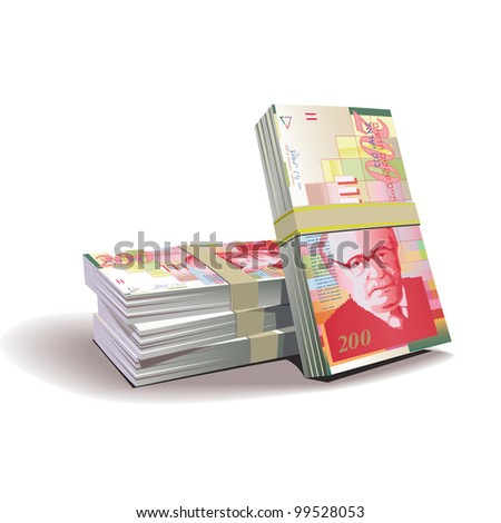 New Israeli Shekel banknotes vector illustration in color, financial theme ; isolated on background. - stock vector