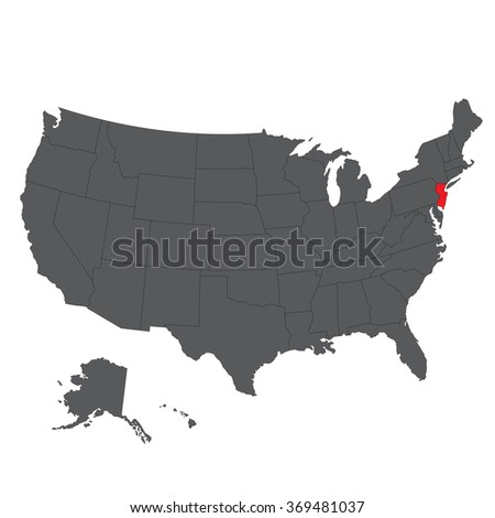 New Jersey red map on gray USA map vector - stock vector
