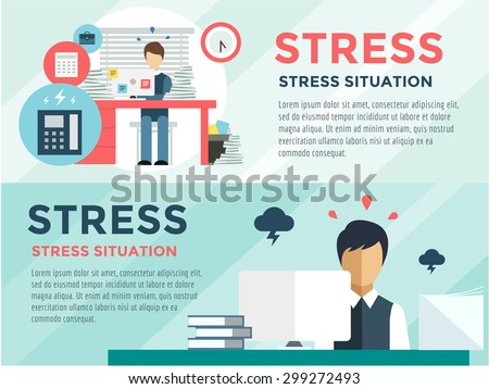 New job stress work infographic. Stress on work. Labor Day. Office life and business man. Business situation. People in action. Computer, table, books, clock. Stock design elements. Office objects - stock vector